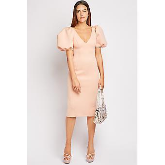 Puffa Sleeve Bodycon Dress