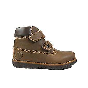 Primigi Aspy 6410177 Brown Nubuck Leather Boys Rip Tape Ankle Boots