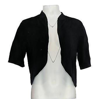 Isaac Mizrahi Live! Women's Regular Sweater Cropped Cardigan Black A376797
