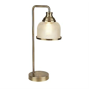 Searchlight Bistro - 1 Light Table Lamp Antique Brass, Glass Shade, E27