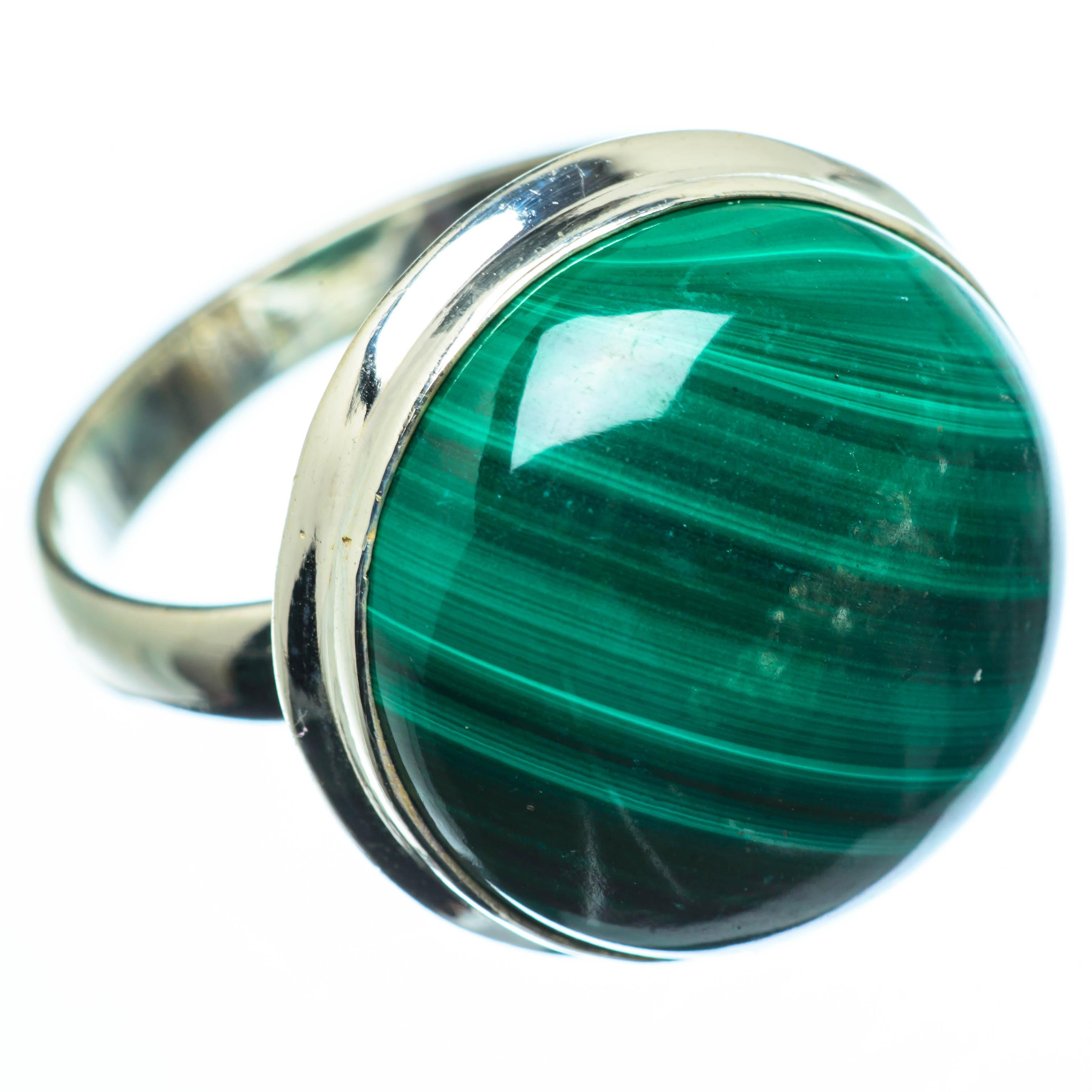 Limited Neu Fantastisk pris Large Malachite Ring Size 10 (925 Sterling Silver)  - Handmade Boho Vintage Jewelry RING28206 nysv0