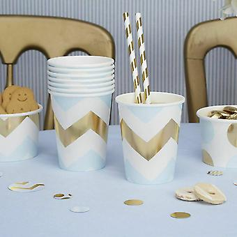 Blue and Gold Chevron Paper Party Cups x 8 birthday Party Baby shower