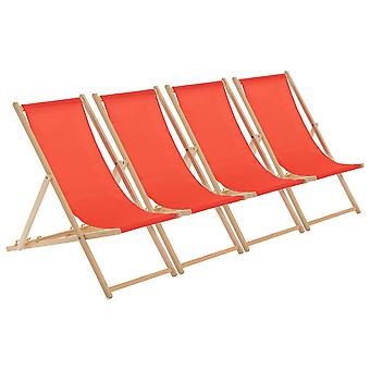 Traditional Adjustable Wooden Beach Garden Deck Chair - Red - Pack of 4