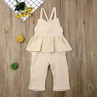 Kids Overalls Sleeveless Backless Romper, Toddler Jumpsuit Wide Leg Pants
