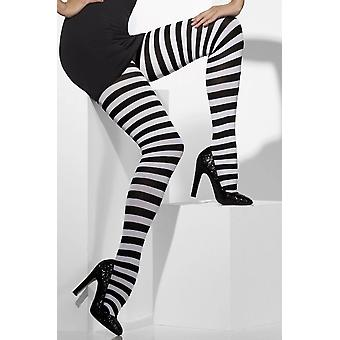 Black & white striped fancy dress tights - adult - one size