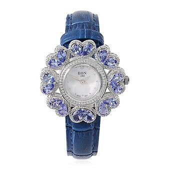 EON 1962 Swiss Movement Gemstone & Diamond Watch Mother of Pearl Dial in Silver