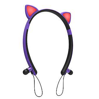 Bluetooth Cute Cat Ear Led Flashing Headphone