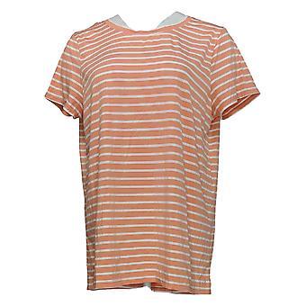 Cuddl Duds Women's Top Short Sleeve Split Back W/ Hi-Low Hem Orange A346813