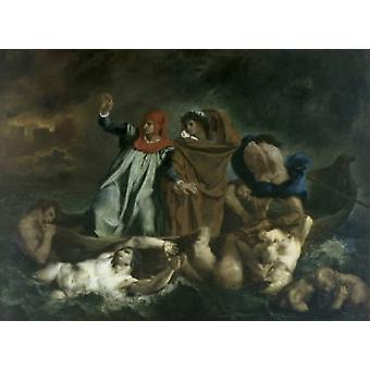 Dante und Vergil in der Hölle 1822 Eugene Delacroix Öl auf Leinwand Muse du Louvre Paris Poster Print