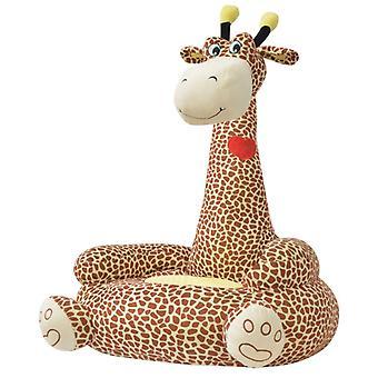 Plush Children's Chair Giraffe Brown