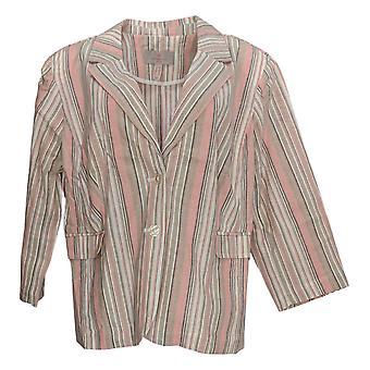 Laurie Felt Women's Plus Stripe Crop Blazer Pink A3525555