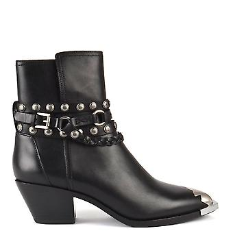 Ash FOLK Black Leather Ankle Boots