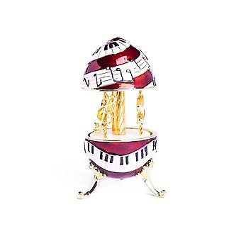 Piano Musical Carousel With Clef And Notes- Trinket Box