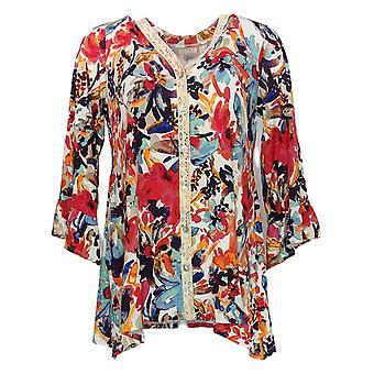 LOGO af Lori Goldstein Women's Sweater Printed Cardigan Red A351659