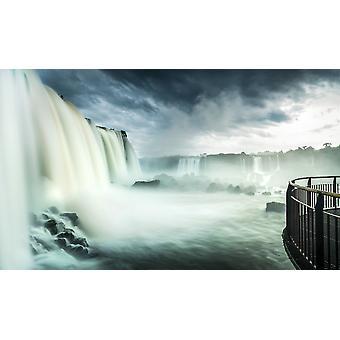 Вид Девилс горла падает Игуасу Фолс Игуасу Национальный парк Бразилии Плакат Печать