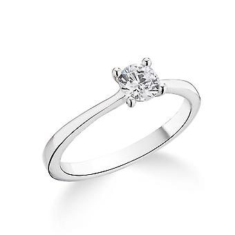 9K White Gold Petite Tapered 4 Prong Setting 0.30Ct Certified Solitaire Diamond Engagement Ring