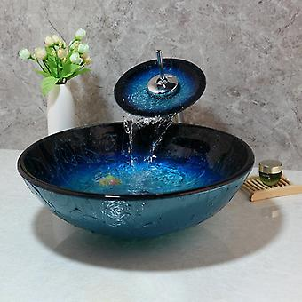 Hand-painted Blue Tempered Glass Basin Sink Faucet Set - Bathroom Countertop