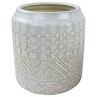 White Star Textured Stoneware Planter 20cm