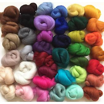 Molten designs 40 colour pack of merino wool tops for needle/wet felting approx 120 gms