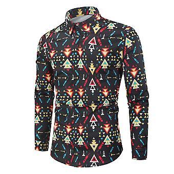 Lange Mouw Print Vakantie Plus Maat Casual Stand Kraag Button Loose Shirt