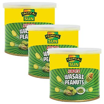 3 x 140g Tropical Sun Wasabi Roasted Peanuts Spicy Hot Snack Crunchy Nibble Food