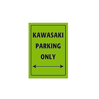 Panneau de stationnement en aluminium Bike It - Kawasaki Parking Only