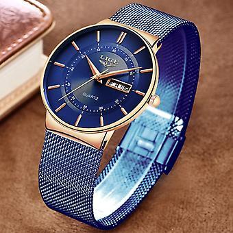 Lige Quartz Movement Men - Anologue Luxury Watch for Men Blue-Gold