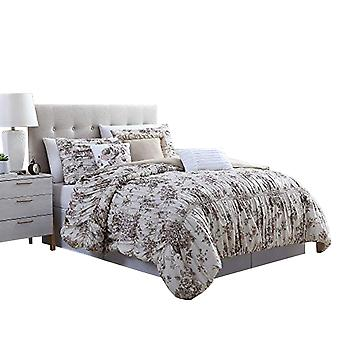 Lyon 6 Piece Floral Queen Comforter Set With Shirring The Urban Port, Beige And Brown
