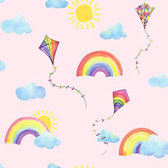 Rainbows and Flying Kites Pink Wallpaper