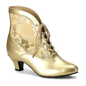 Funtasma Apparel & Accessories > Costumes & Accessories > Costume Boots > Womens DAME-05 Gold Pu-Lace