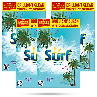 4x of 45W Surf Concentrated Coconut Bliss Laundry Powder 2.25kg, Total 180Washes
