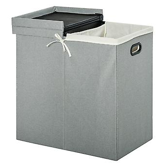 HOMCOM Linen Folding Laundry Basket, Hamper Bin with 2 Sections, Lid and Removable Liner and Handles, 115L Storage Capacity, Grey