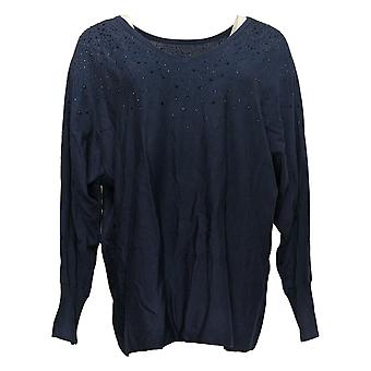 Belle By Kim Gravel Women's Sweater Réversible avec Bling Blue A386452