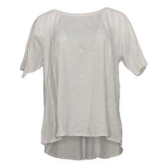 Anybody Women's Top Cozy Knit Short-Sleeve Swing White A349828