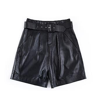 Mimigo New Real Leather Shorts Women Shorts All-match Sashes Wide Leg Short Ladies Sexy Leather Shorts With Belt Spring Summer