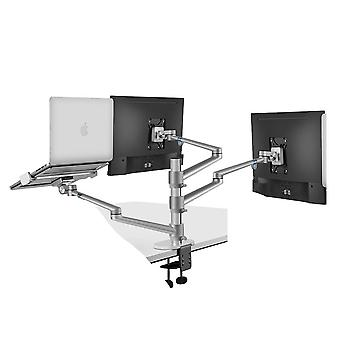 "Ol-30l Aluminum Silver Ergonomics 10""-17"" Desk Laptop Stand 32"" Monitor"