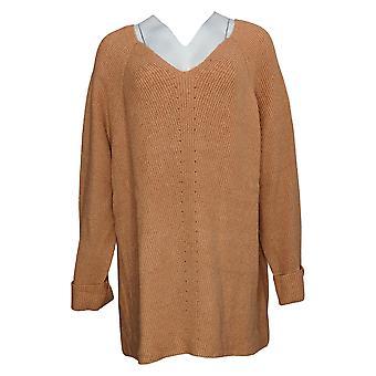 Nina Leonard Women's Sweater Plus V Neck Long Sleeve Tunic Black 682362