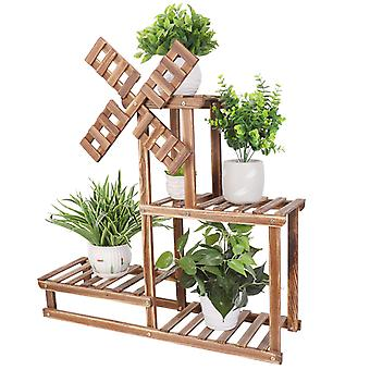 Unique Windmill Plant Stand Wood Shelf