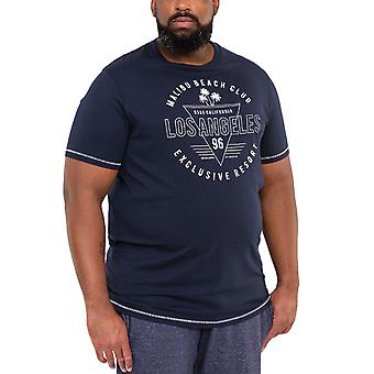 Duke D555 Mens Stoke Big Tall King Size Los Angeles Print T-Shirt Top Tee - Navy