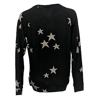 Buffalo Women's Cozy Printed Long Sleeves Crew Neck Top Black 1436867