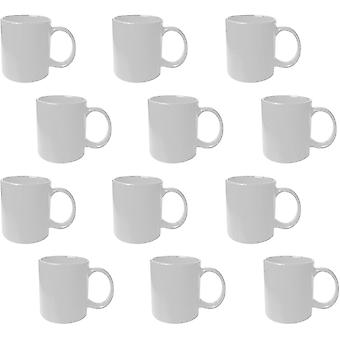 12pk White Mugs   100% Lead and Cadmium Free Stoneware Mugs   Great Gift Idea or for Kitchens,