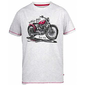 DUKE Duke Mens Big Size Vintage Rides Cotton Crew Neck T Shirt Off White Marl