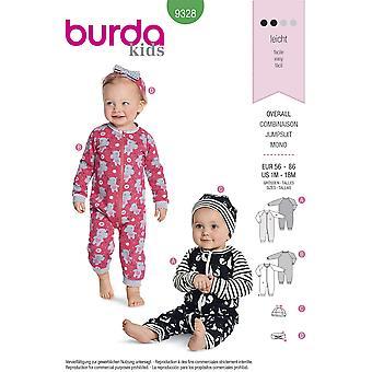Burda sömnad mönster 9328 baby spädbarn jumpsuit storlek 1m-18m