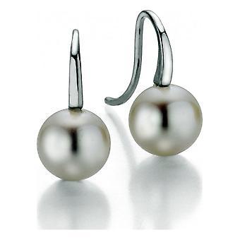 Adriana Pearl Earrings Hook Freshwater White 7-8mm Silver Rhodium L18