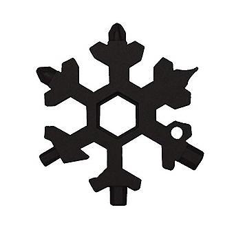18-in-1 ruostumattomasta teräksestä kannettava lumihiutale-muotoinen monityökalu musta