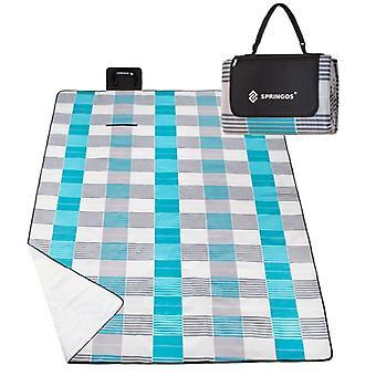 Picknickmatta 300x200 cm - Fleece - Blå & Grå rutig