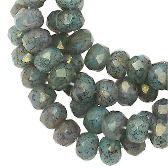 Tjeckiska glaspärlor facetterade Rondelle 3x5mm Aqua Green Opaline Silk, Guld Marmorerad, 1 Str, Raven's Journey