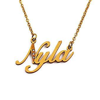 Kigu Nyla - Halsband med anpassat namn, med zirkoner, guldpläterade