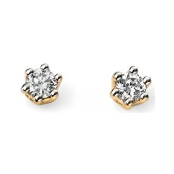 9 CT White Gold And Gold With Diamond Earring