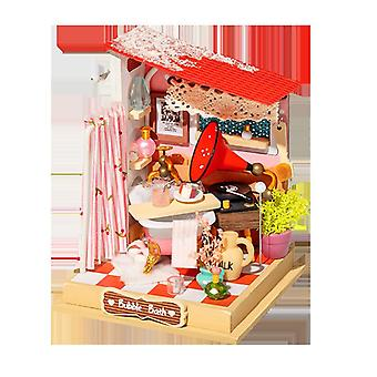 Diydollhouse miniature with furniture, kitchen building model toys